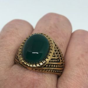 Vintage Green Onyx gold stainless steel ring